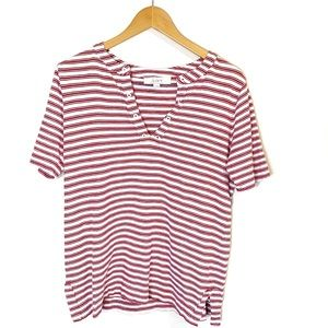 Loft Red and white Striped top Medium